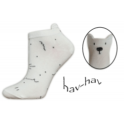 Dobré kotníkové ponožky s uškami - smotanové