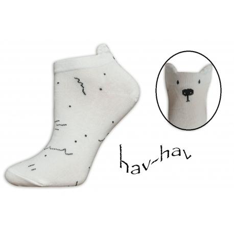 Nízke ponožky s uškami na leto - smotanové