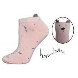 Dobré kotníkové ponožky s uškami - ružové