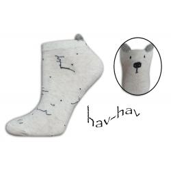 Dobré kotníkové ponožky s uškami - smotanovo-sivé