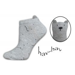Sivé kotníkové ponožky s uškami