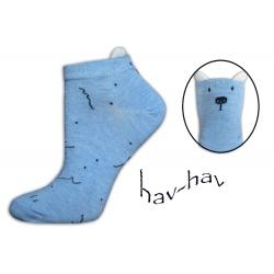 Modré kotníkové ponožky s uškami