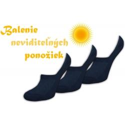 Neviditeľné čierne ponožky 3-páry