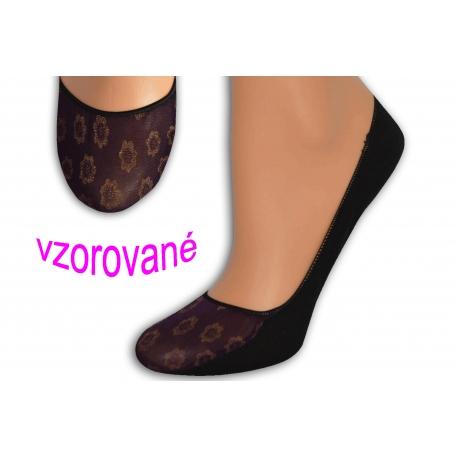 Balerínkové vzorované ponožky - fialové