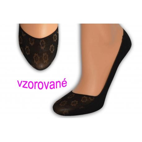 Balerínkové vzorované ponožky - čierne