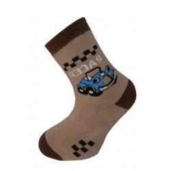 Teplé ponožky pre chlapca s autom - hnedé 32-35
