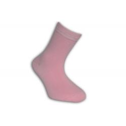 Jednofarebné bledo-ružové detské ponožky