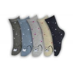 Výhodné 5- balenie dámskych ponožiek s mačkami