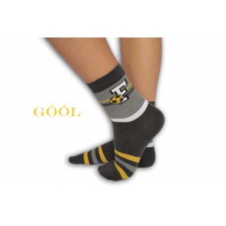 Tmavo-sivé chlapčenské ponožky s futbalom