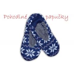 Ponožkové vlnené papuče s nórskym vzorom