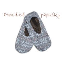 IBA 35-38! Ponožkové vlnené papuče s nórskym vzorom
