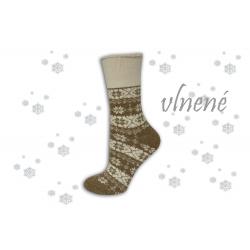 Hrejivé vlnené ponožky s vločkami