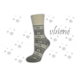 Hrejivé bl.sivé  vlnené ponožky s vločkami