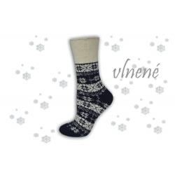 Hrejivé modré vlnené ponožky s vločkami