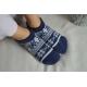 Modré nízke balerínkové papuče so vzorom