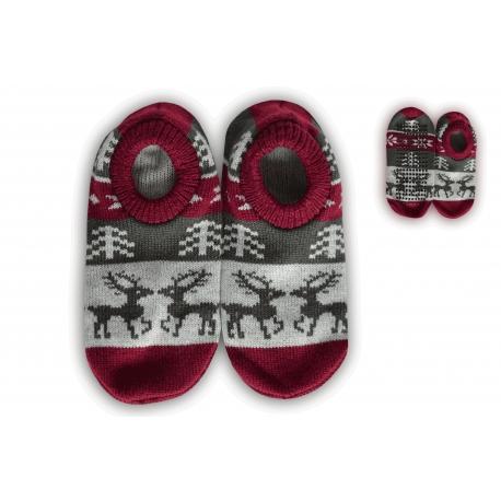 Protišmykové ponožkové papuče s jelením vzorom