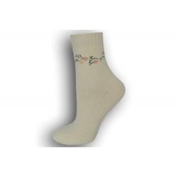 Zimné  vlnené ponožky s angorou- slonová kosť