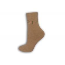 Zimné vlnené ponožky s angorou - zlaté