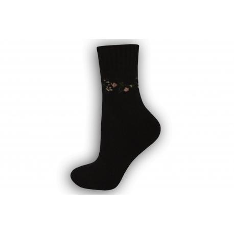 Zimné vlnené ponožky s angorou - čierne
