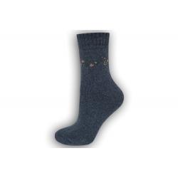 Zimné vlnené ponožky s angorou - modré