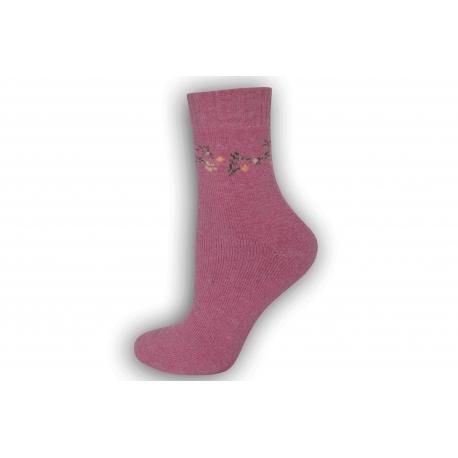 Zimné vlnené ponožky s angorou - ružové