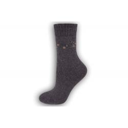 Zimné vlnené ponožky s angorou - fialové