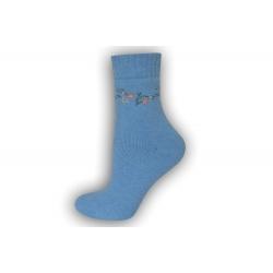 Zimné vlnené ponožky s angorou - bl.modré