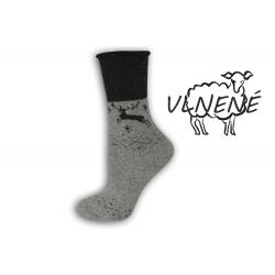 Zdravotné vlnené teplé  ponožky s jeleňom - sivé