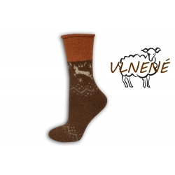Zdravotné vlnené teplé  ponožky s jeleňom - tehlovo-hnedé