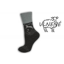 Zdravotné vlnené teplé  ponožky s jeleňom - šedé
