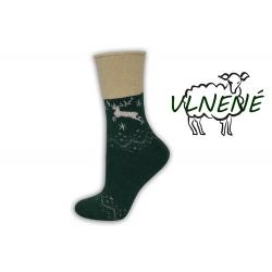 Zdravotné vlnené teplé  ponožky s jeleňom - tm.zelené