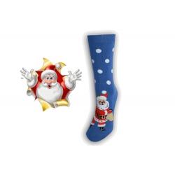 Vianočné ponožky s Mikulášom - modré