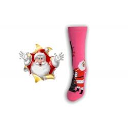 Vianočné ponožky s Mikulášom - ružové