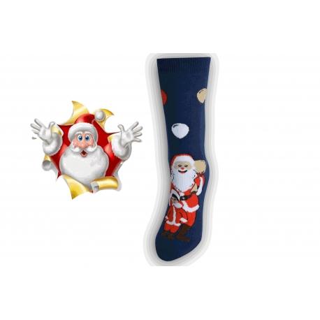 Vianočné ponožky s Mikulášom - tm.modré