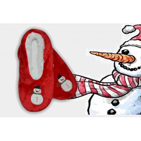 Darček na vianoce – červené papuče so snehuliakom