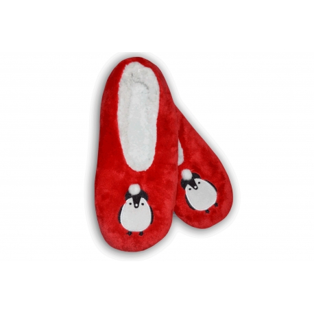 Darček na vianoce – červené papuče s tučniakom