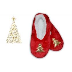 Darček na vianoce – červené papuče so stromčekom