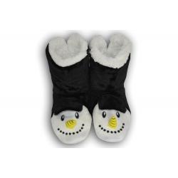 Veselé Dámske papuče so snehuliakom - čierne