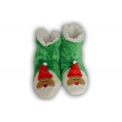 Teplé zelené dámske papuče s Mikulášom