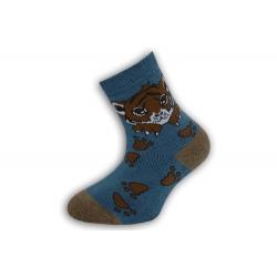 Jednofarebné detské teplé ponožky s tygrom