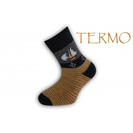 90% bavlna. Termo ponožky pre deti s loďkou - čierne