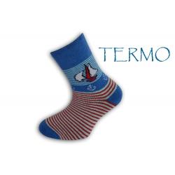 90% bavlna. Teplé ponožky pre deti s loďkou - modré