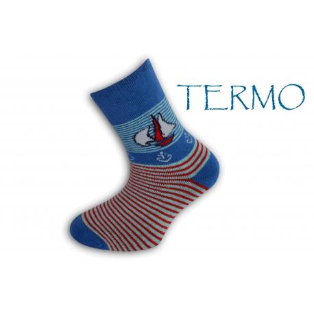 90% bavlna. Termo ponožky pre deti s loďkou - modré