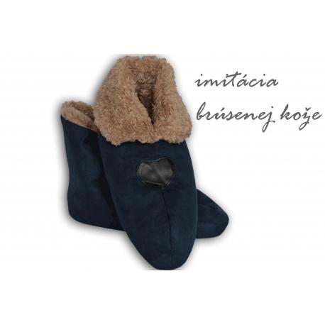 Modré pánske papuče s imitáciou jelenice