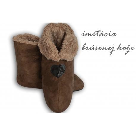 Hnedé pánske papuče s imitáciou jelenice