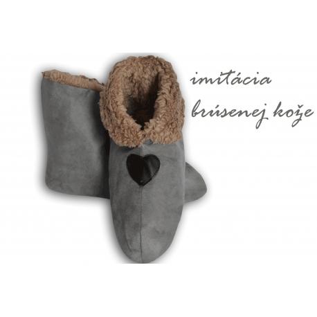 Sivé pánske papuče s imitáciou jelenice