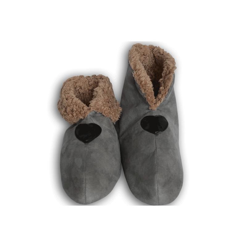 0b3290215b5d Sivé pánske papuče s imitáciou jelenice