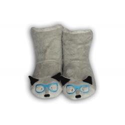 Sivé detské papuče so zvieratkom