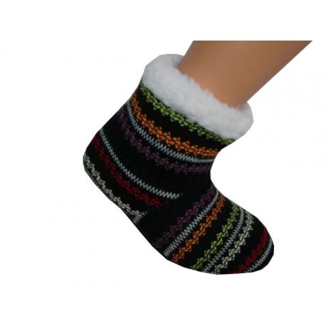 Detské farebné teplé papuče s ABS e8e9211c19e