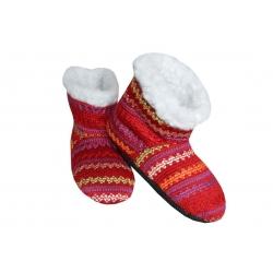 16 cm! Bordové detské pletené papuče